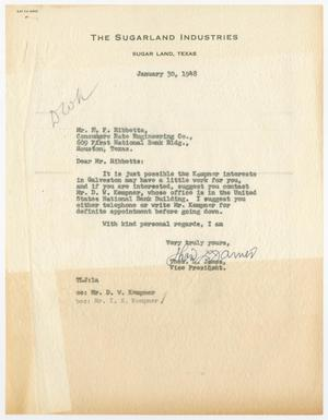 Primary view of object titled 'Letter from Thos. L. James to R. F. Hibbetts, January 30, 1948'.