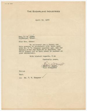 Primary view of object titled 'Letter from Thos. L. James to Mrs. L. A. Adoue, April 19, 1948'.