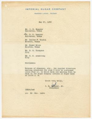 Primary view of object titled '[Letter from I. H. Kempner, Jr., to Directors of Imperial Sugar Company, May 27, 1948]'.