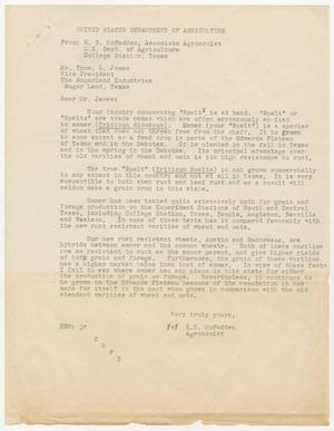 Primary view of object titled 'Letter from E. S. McFadden of the U.S. Department of Agriculture to Thos. L. James'.