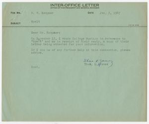 Letter from Thos. L. James to D. W. Kempner, January 2, 1947