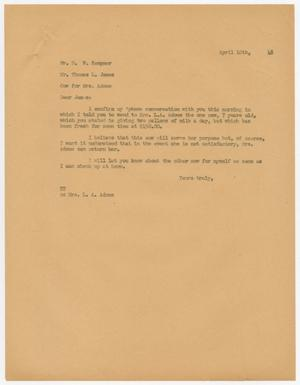 Primary view of object titled 'Letter from D. W. Kempner to Thomas L. James, April 10, 1948'.