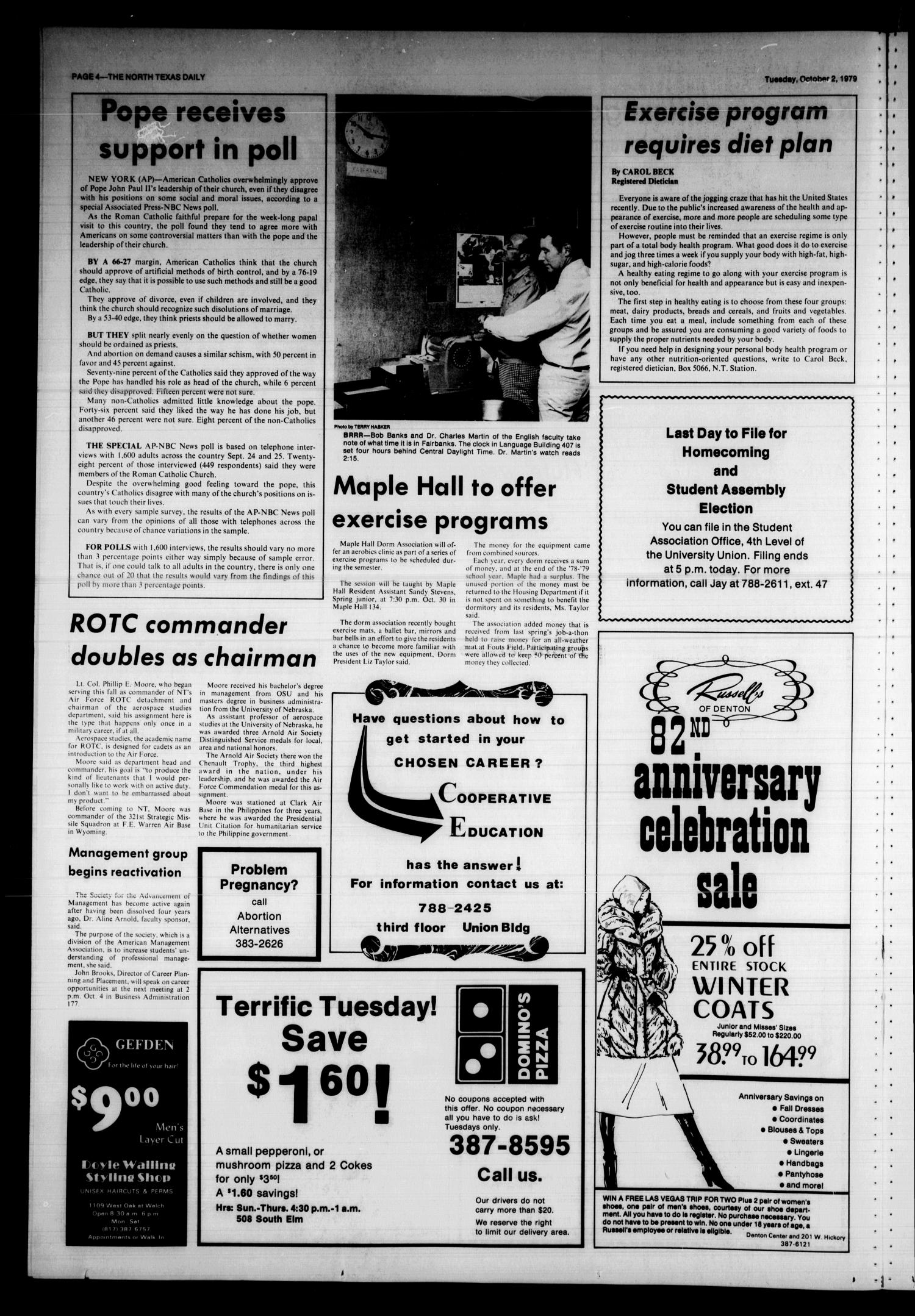 The North Texas Daily (Denton, Tex.), Vol. 63, No. 17, Ed. 1 Tuesday, October 2, 1979                                                                                                      [Sequence #]: 4 of 8