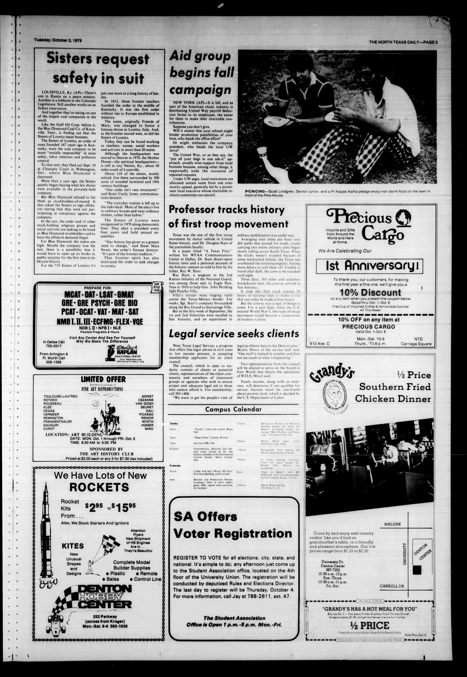 The North Texas Daily (Denton, Tex.), Vol. 63, No. 17, Ed. 1 Tuesday, October 2, 1979                                                                                                      [Sequence #]: 5 of 8