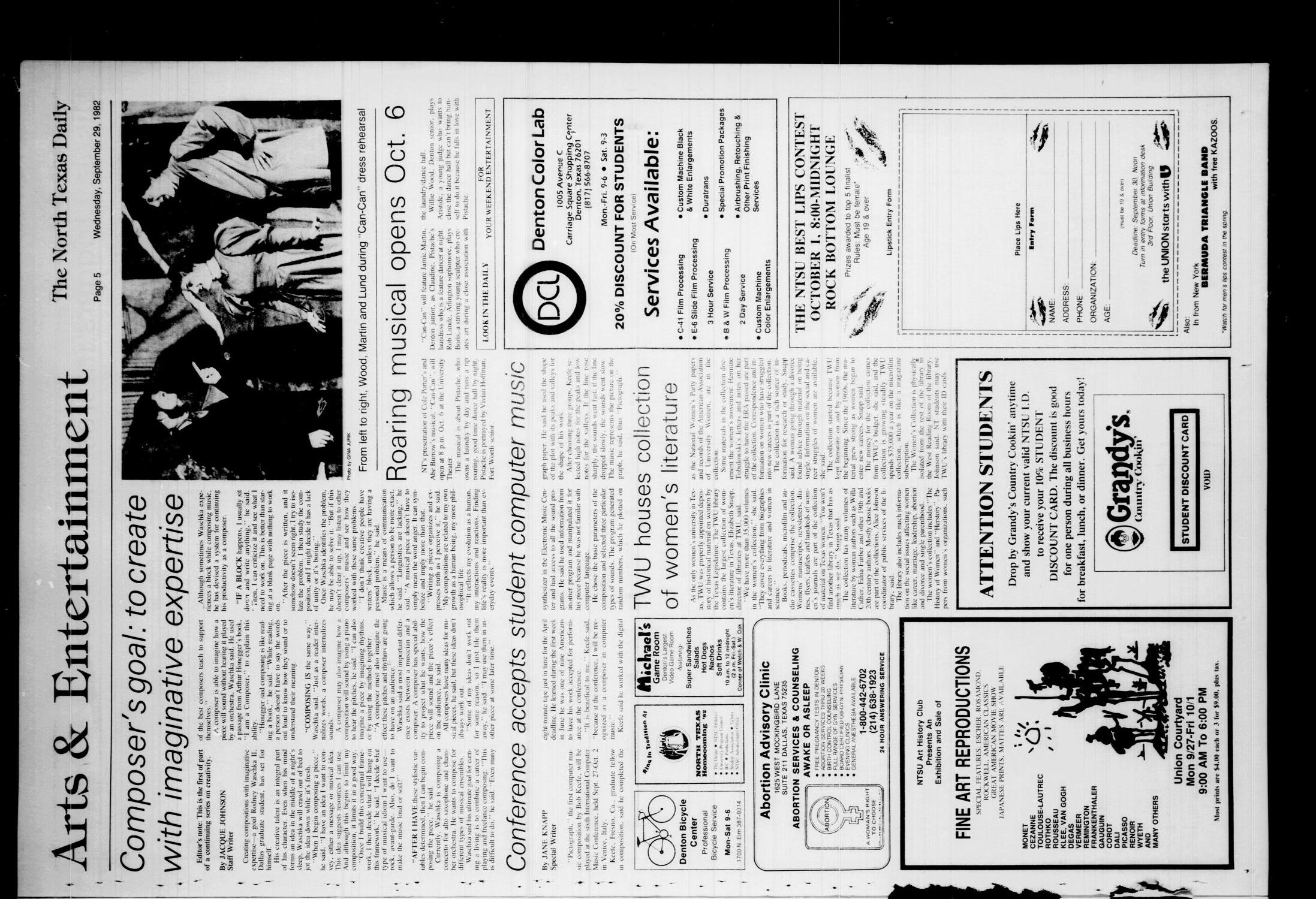The North Texas Daily (Denton, Tex.), Vol. 66, No. 18, Ed. 1 Wednesday, September 29, 1982                                                                                                      [Sequence #]: 5 of 8