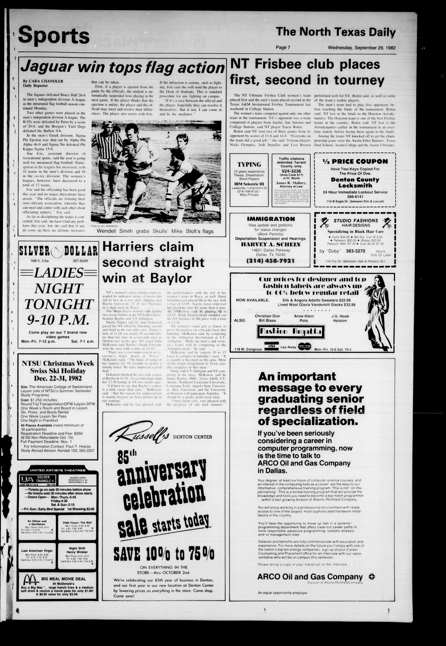 The North Texas Daily (Denton, Tex.), Vol. 66, No. 18, Ed. 1 Wednesday, September 29, 1982                                                                                                      [Sequence #]: 7 of 8