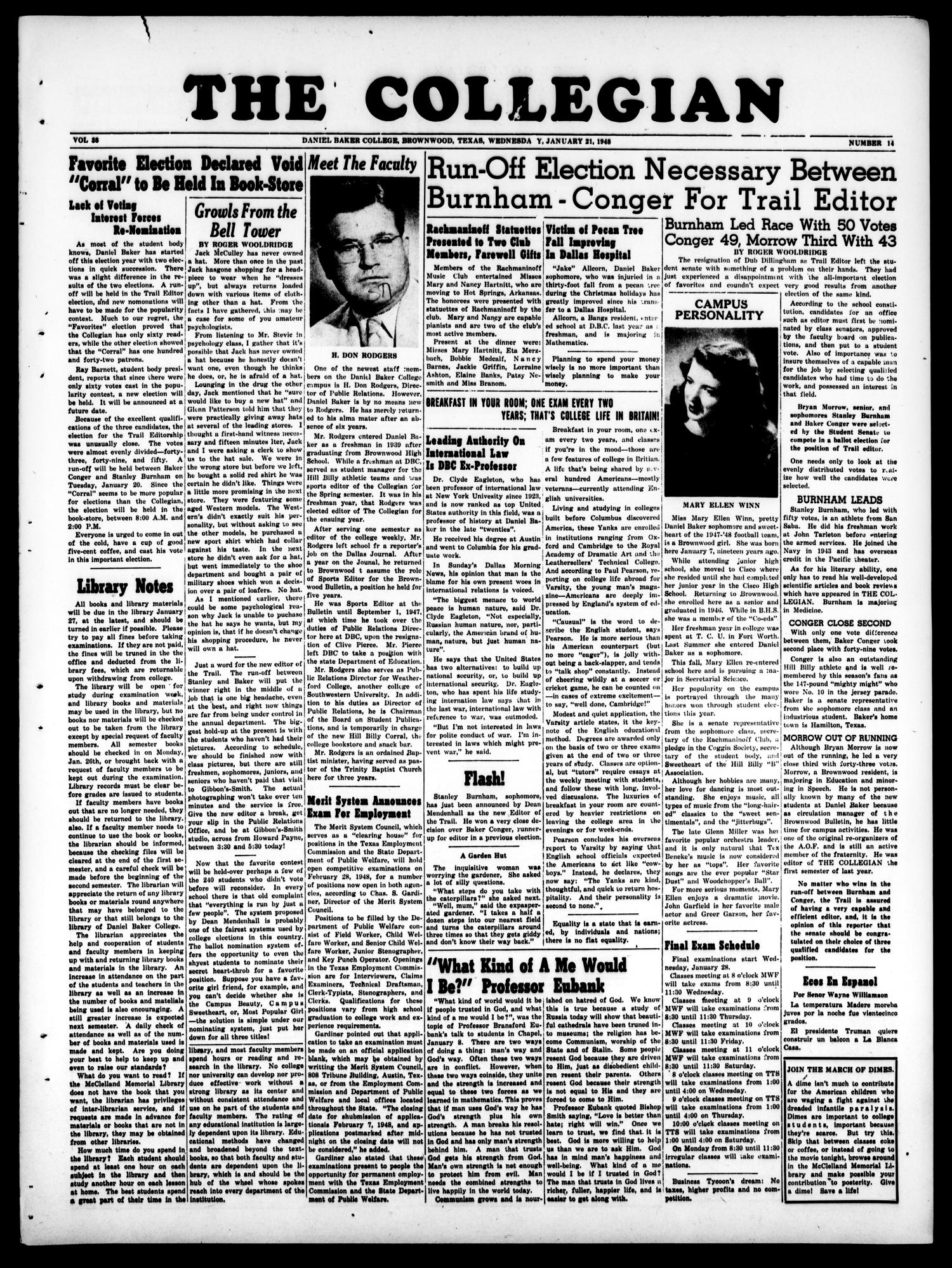 The Collegian (Brownwood, Tex.), Vol. 38, No. 14, Ed. 1, Wednesday, January 21, 1948                                                                                                      [Sequence #]: 1 of 4