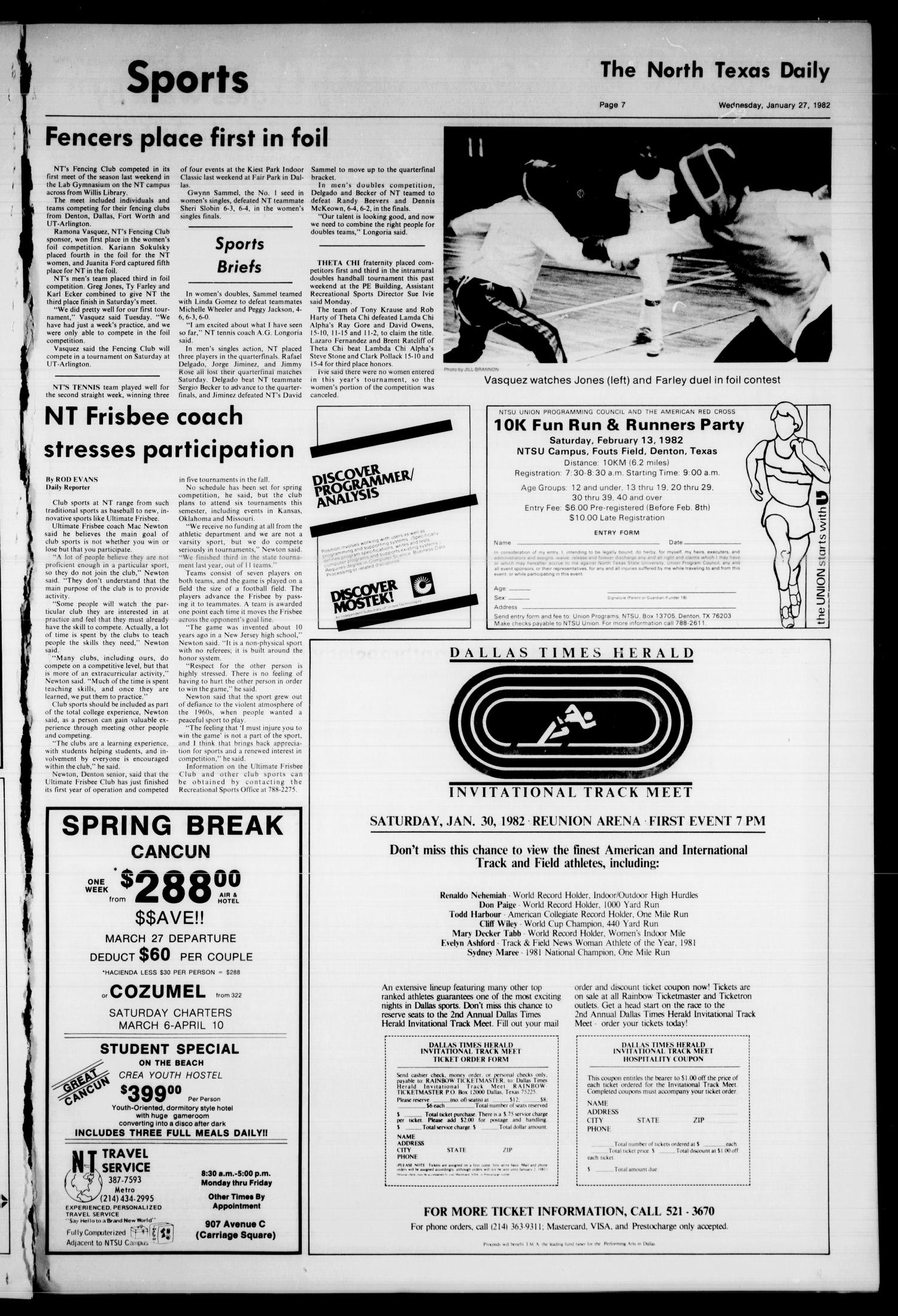 The North Texas Daily (Denton, Tex.), Vol. 65, No. 60, Ed. 1 Wednesday, January 27, 1982                                                                                                      [Sequence #]: 7 of 8