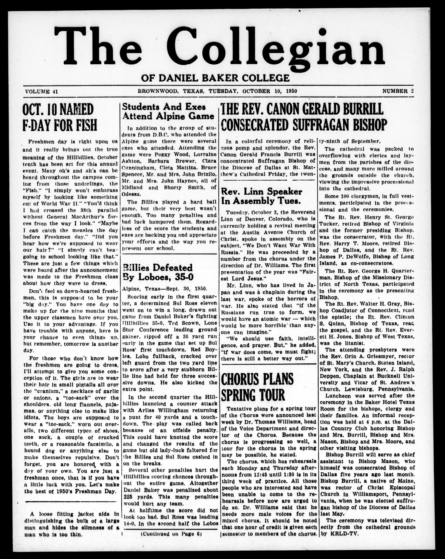 The Collegian (Brownwood, Tex.), Vol. 41, No. 2, Ed. 1, Tuesday, October 10, 1950                                                                                                      [Sequence #]: 1 of 6