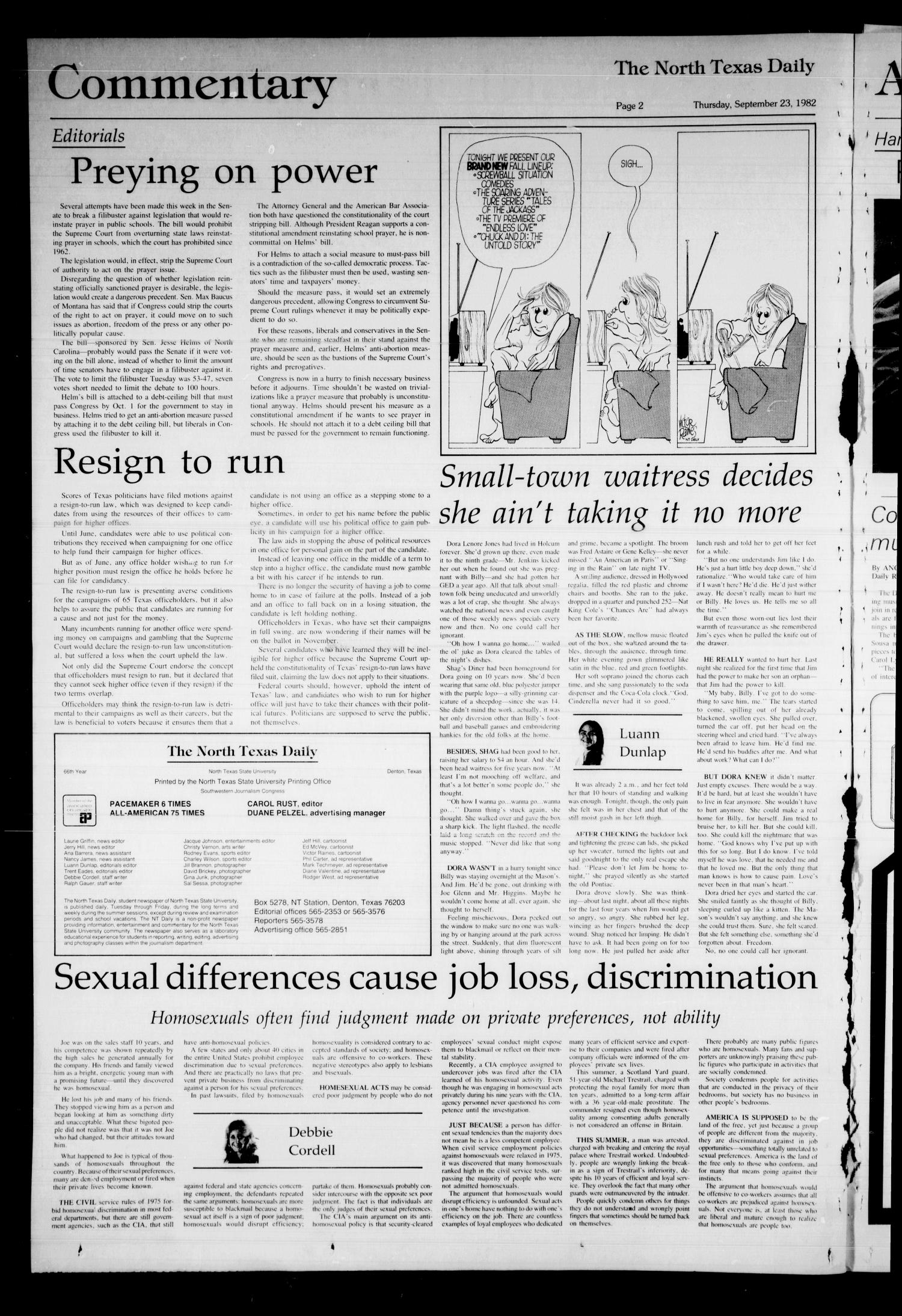 The North Texas Daily (Denton, Tex.), Vol. 66, No. 15, Ed. 1 Thursday, September 23, 1982                                                                                                      [Sequence #]: 2 of 4