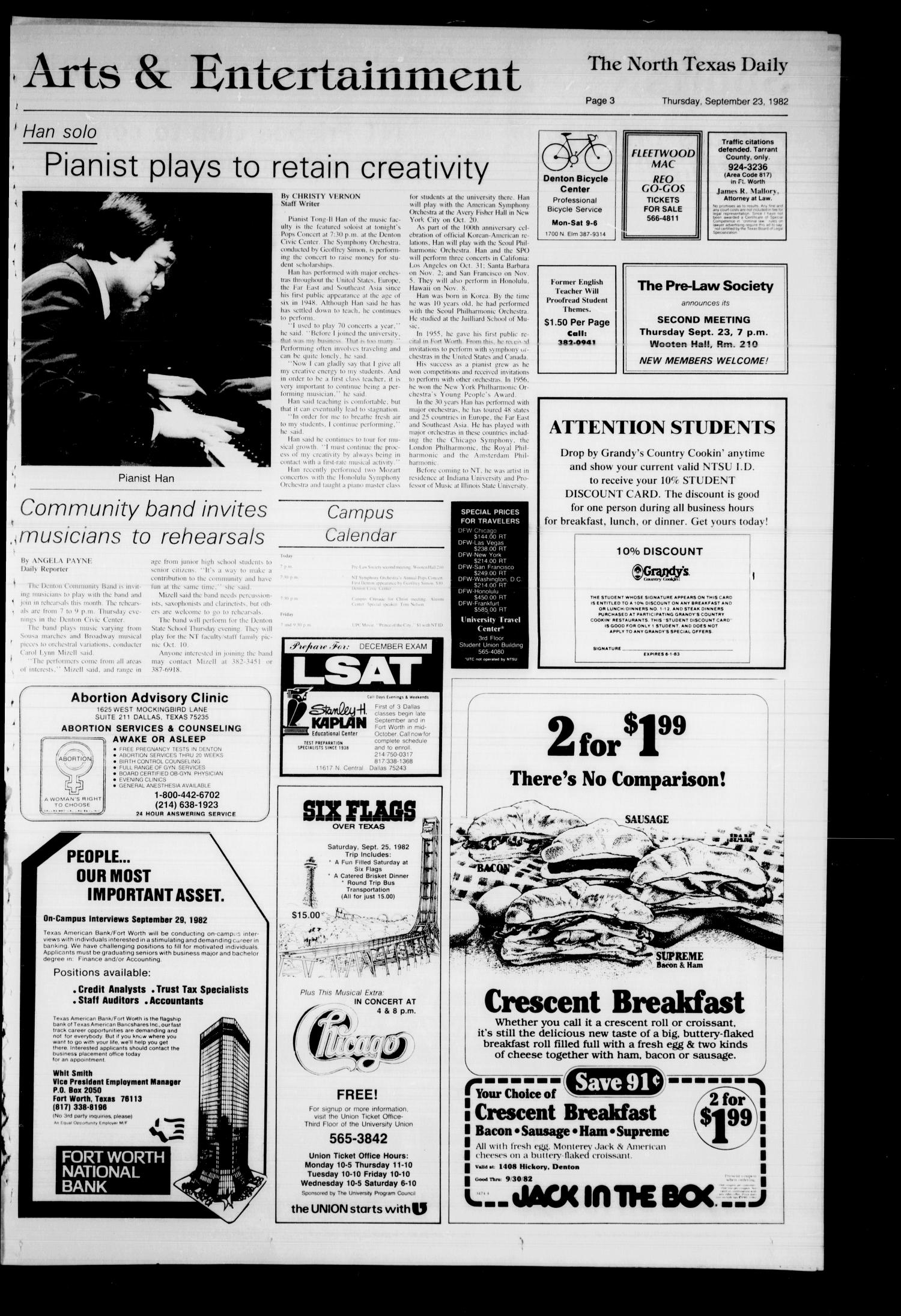 The North Texas Daily (Denton, Tex.), Vol. 66, No. 15, Ed. 1 Thursday, September 23, 1982                                                                                                      [Sequence #]: 3 of 4