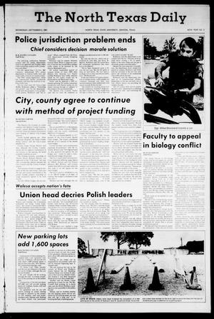 Primary view of object titled 'The North Texas Daily (Denton, Tex.), Vol. 65, No. 3, Ed. 1 Wednesday, September 2, 1981'.
