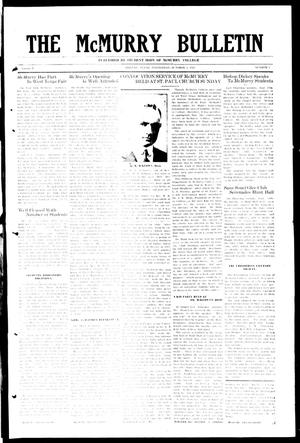 Primary view of object titled 'The McMurry Bulletin (Abilene, Tex.), Vol. 1, No. 2, Ed. 1, Wednesday, October 3, 1923'.