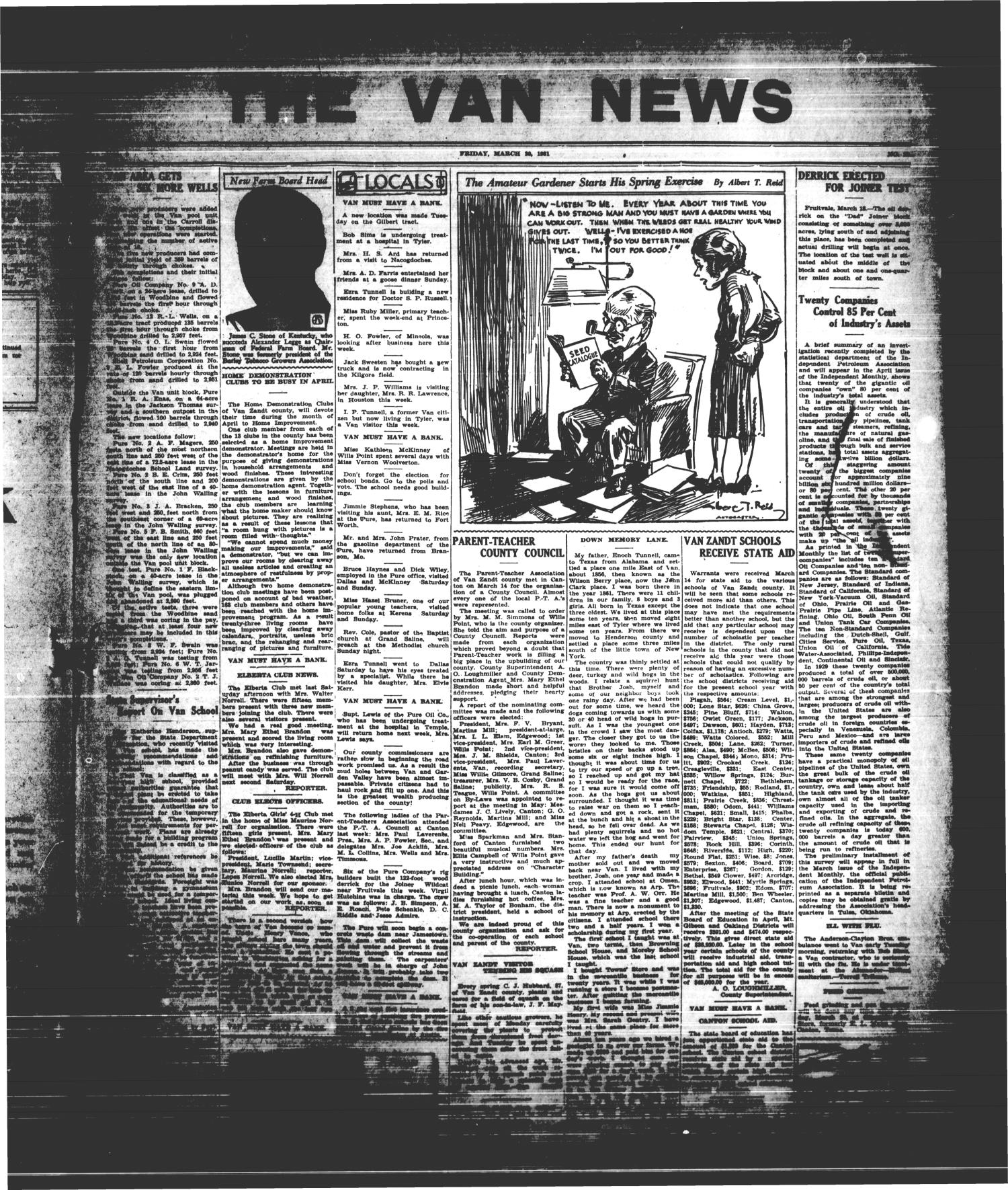 The Van News (Wills Point, Tex.), Vol. [3], No. [12], Ed. 1 Friday, March 20, 1931                                                                                                      [Sequence #]: 1 of 8
