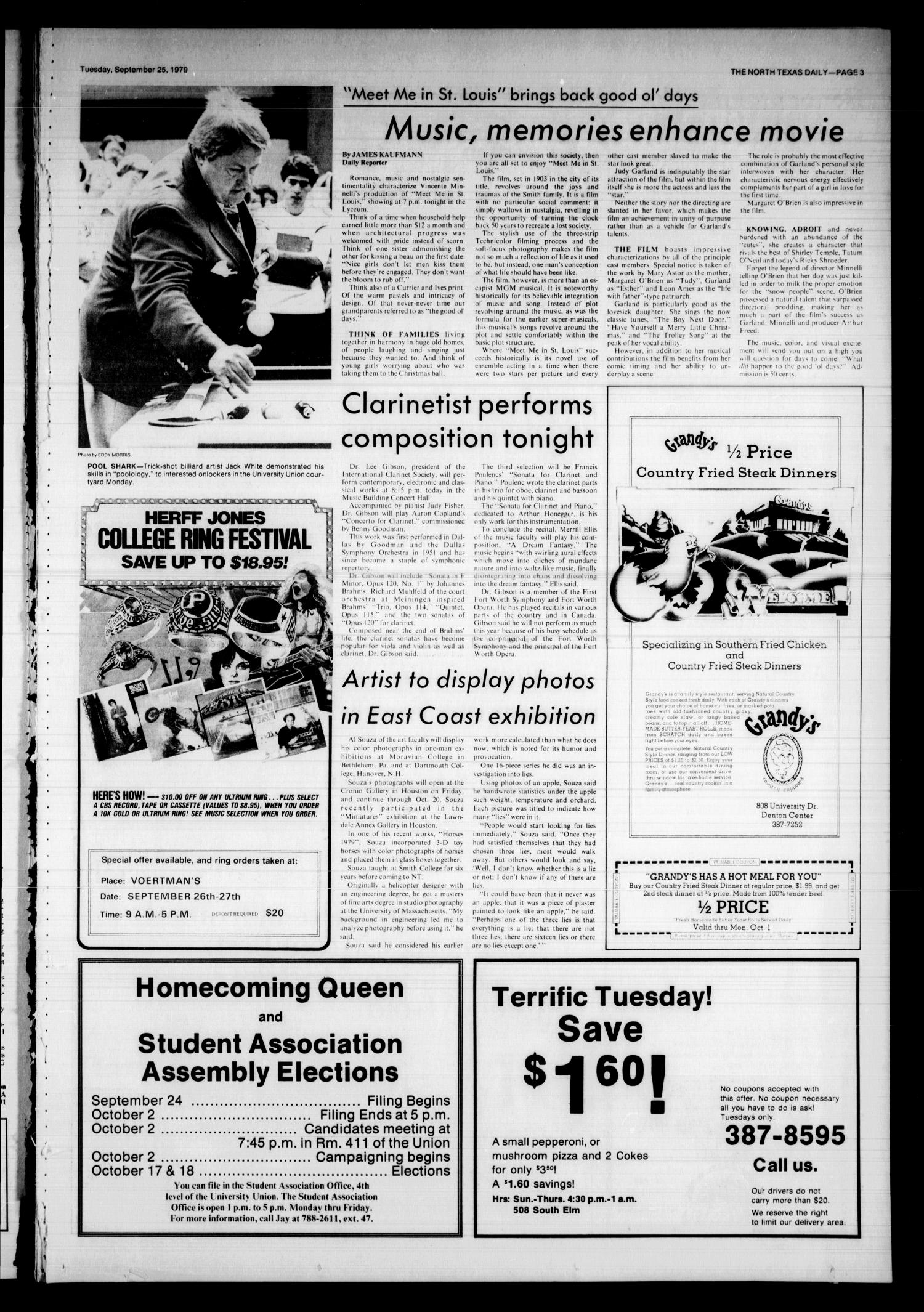 The North Texas Daily (Denton, Tex.), Vol. 63, No. 13, Ed. 1 Tuesday, September 25, 1979                                                                                                      [Sequence #]: 3 of 8