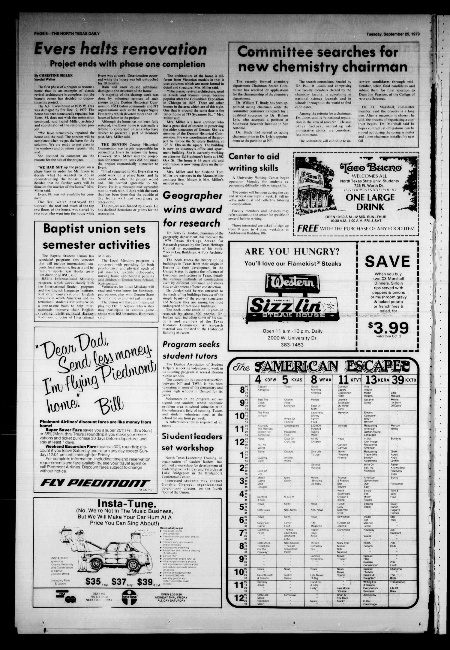 The North Texas Daily (Denton, Tex.), Vol. 63, No. 13, Ed. 1 Tuesday, September 25, 1979                                                                                                      [Sequence #]: 6 of 8