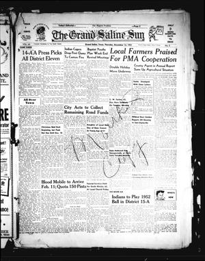 Primary view of object titled 'The Grand Saline Sun (Grand Saline, Tex.), Vol. 60, No. 5, Ed. 1 Thursday, December 13, 1951'.
