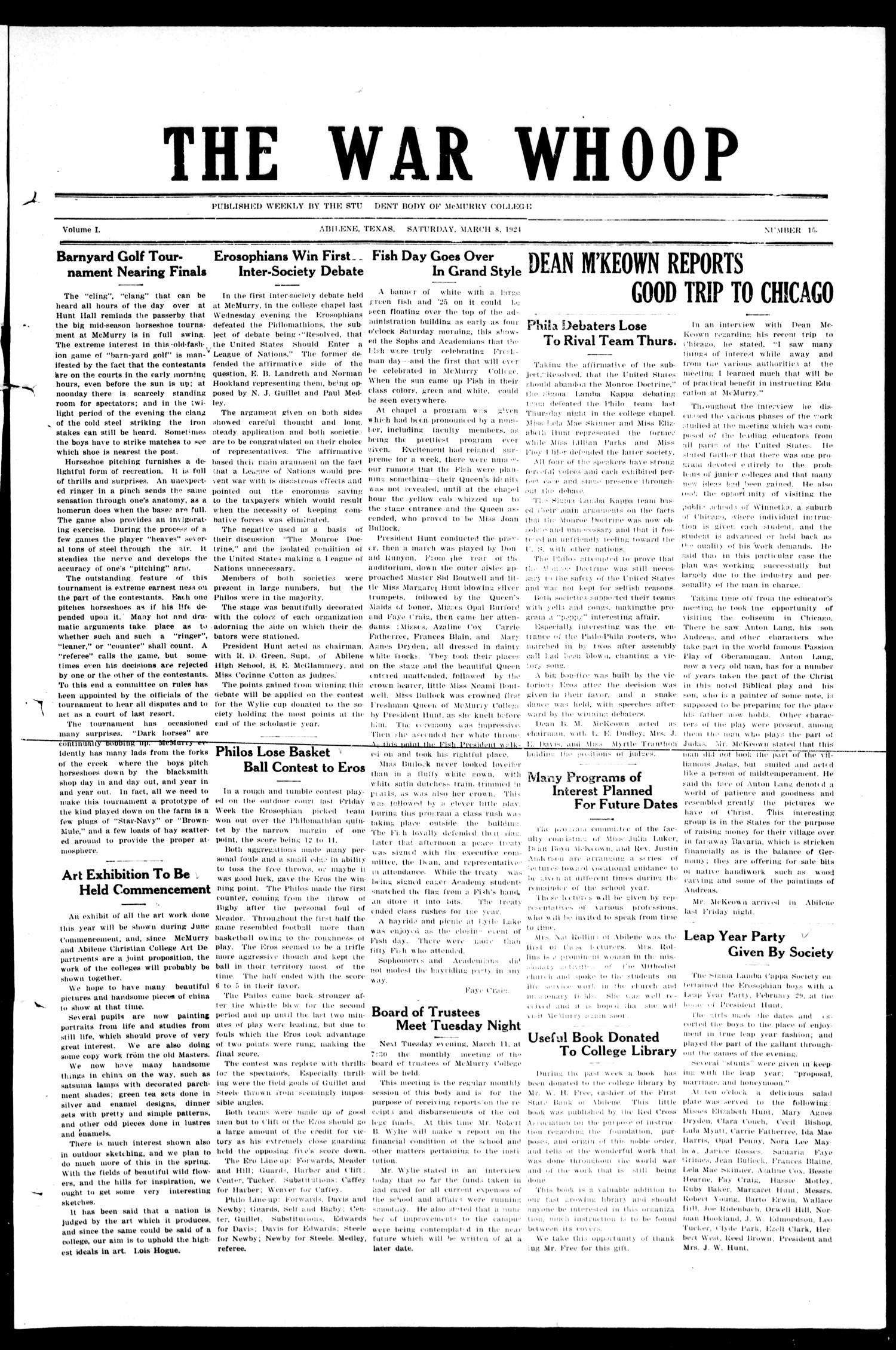 The War-Whoop (Abilene, Tex.), Vol. 1, No. 15, Ed. 1, Saturday, March 8, 1924                                                                                                      [Sequence #]: 1 of 4