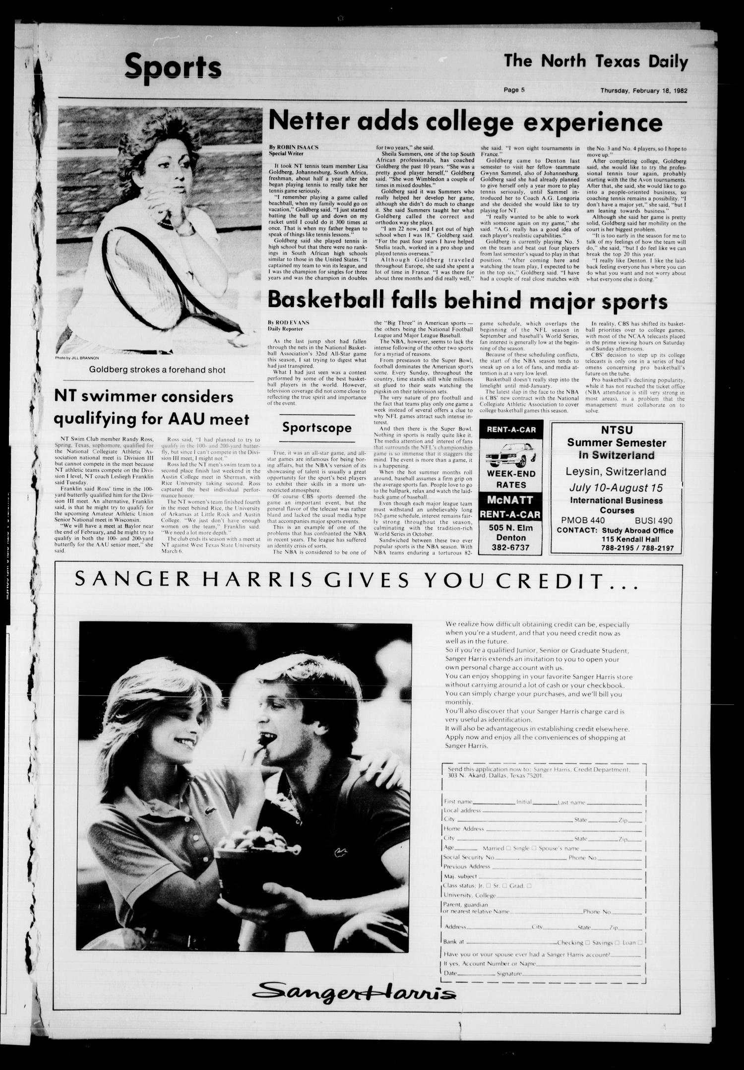 The North Texas Daily (Denton, Tex.), Vol. 65, No. 73, Ed. 1 Thursday, February 18, 1982                                                                                                      [Sequence #]: 5 of 6