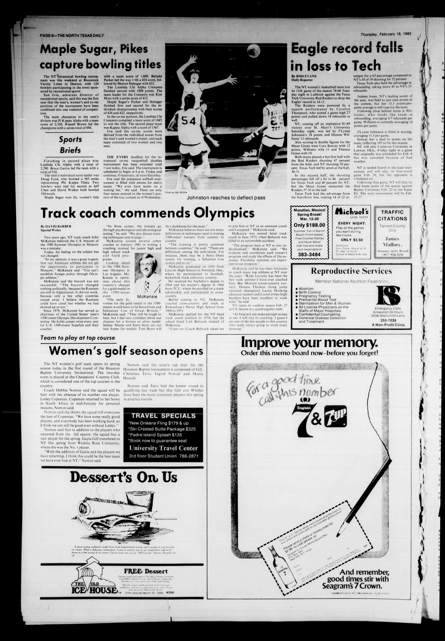 The North Texas Daily (Denton, Tex.), Vol. 65, No. 73, Ed. 1 Thursday, February 18, 1982                                                                                                      [Sequence #]: 6 of 6