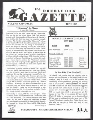 The Double Oak Gazette (Double Oak, Tex.), Vol. 24, No. 6, Ed. 1 Tuesday, June 1, 1999