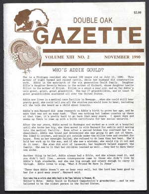 Double Oak Gazette (Double Oak, Tex.), Vol. 13, No. 2, Ed. 1, November 1990
