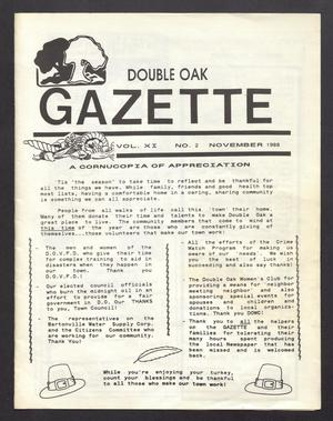 Primary view of object titled 'Double Oak Gazette (Double Oak, Tex.), Vol. 11, No. 2, Ed. 1, November 1988'.