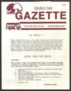 Primary view of object titled 'Double Oak Gazette (Double Oak, Tex.), Vol. 13, No. 10, Ed. 1, September 1991'.