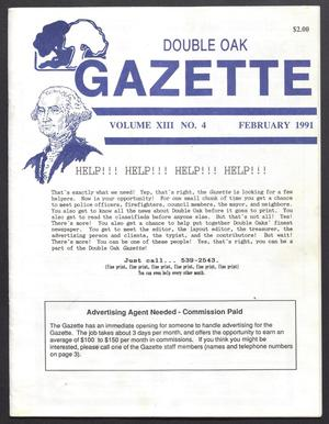 Primary view of object titled 'Double Oak Gazette (Double Oak, Tex.), Vol. 13, No. 4, Ed. 1, February 1991'.