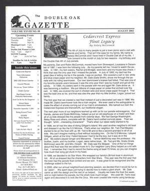 Primary view of object titled 'The Double Oak Gazette (Double Oak, Tex.), Vol. 28, No. 8, Ed. 1 Thursday, August 1, 2002'.