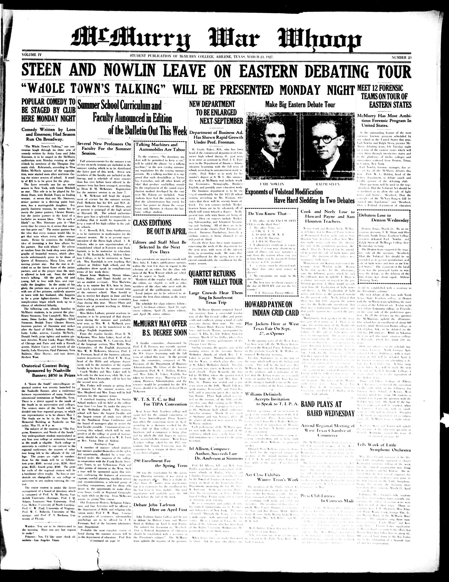 McMurry War Whoop (Abilene, Tex.), Vol. 4, No. 23, Ed. 1, Thursday, March 24, 1927                                                                                                      [Sequence #]: 1 of 4