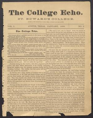 Primary view of object titled 'The College Echo. (Austin, Tex.), Vol. 1, No. 3, Ed. 1, January 1889'.
