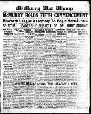 McMurry War Whoop (Abilene, Tex.), Vol. 5, No. 32, Ed. 1, Friday, June 1, 1928