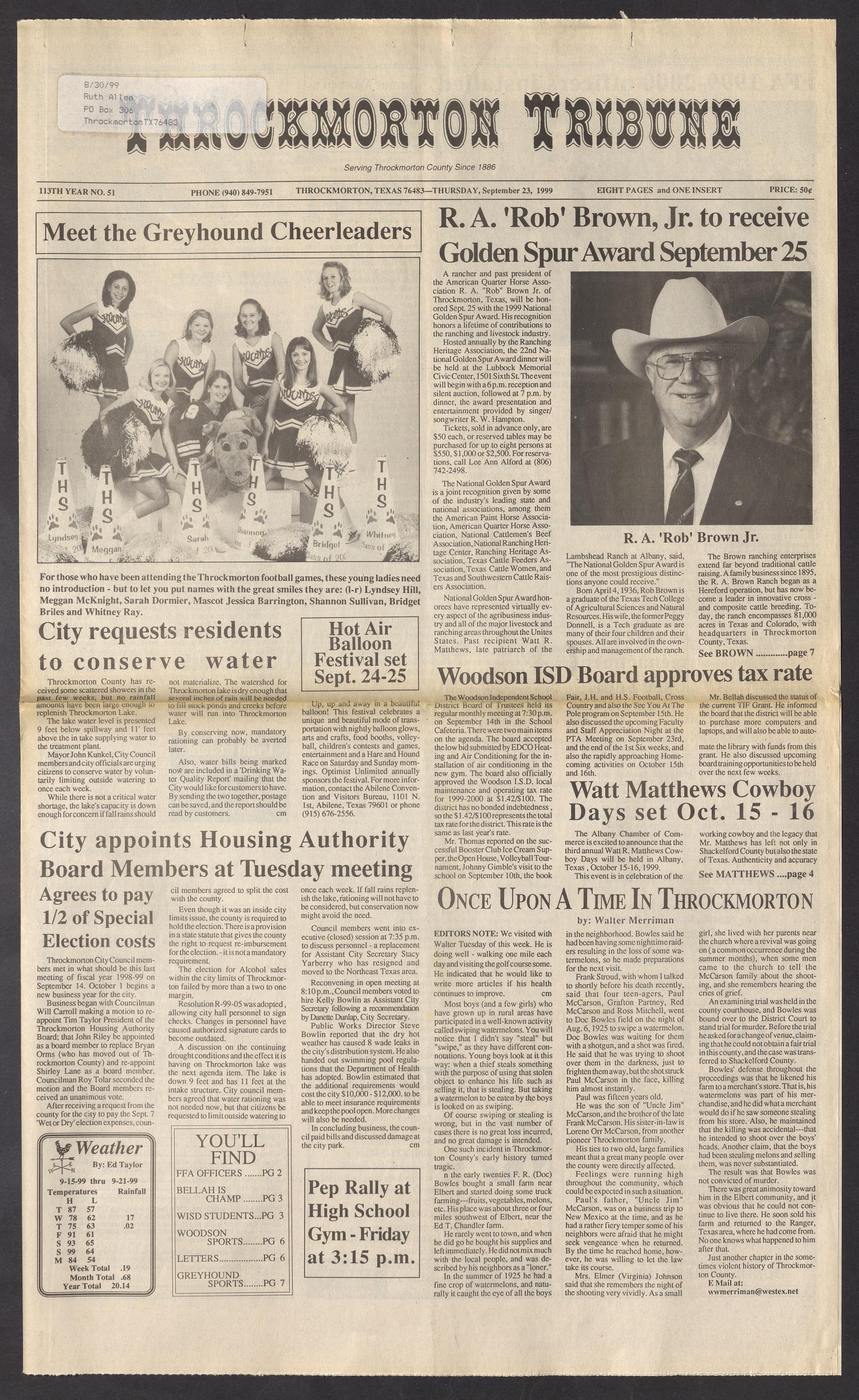 Throckmorton Tribune (Throckmorton, Tex ), Vol  113, No  51