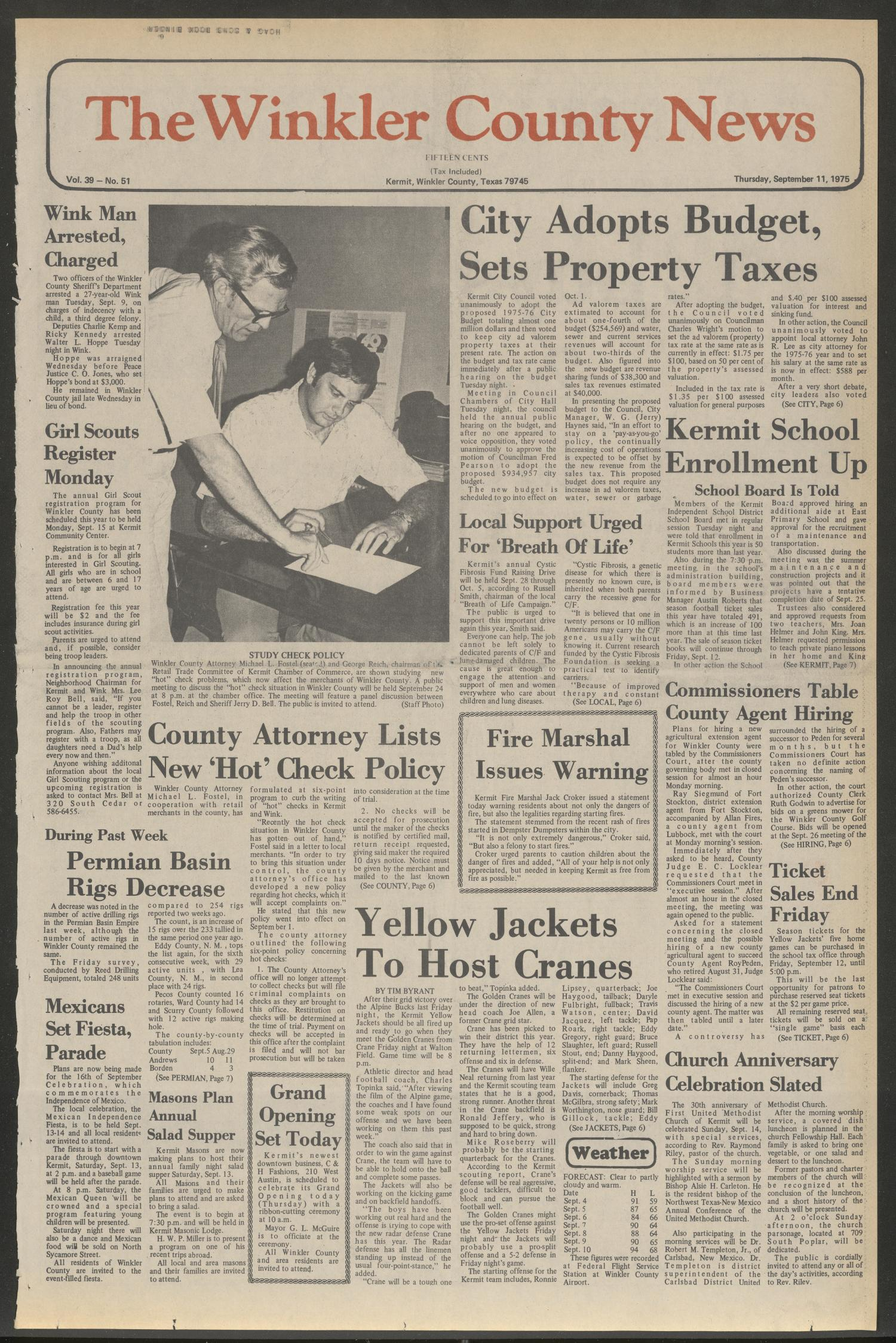 The Winkler County News (Kermit, Tex.), Vol. 39, No. 51, Ed. 1 Thursday, September 11, 1975                                                                                                      [Sequence #]: 1 of 27