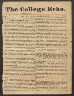 Primary view of object titled 'The College Echo. (Austin, Tex.), Vol. 1, No. 2, Ed. 1, October 1888'.