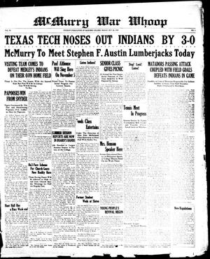 McMurry War Whoop (Abilene, Tex.), Vol. 6, No. 6, Ed. 1, Friday, October 26, 1928