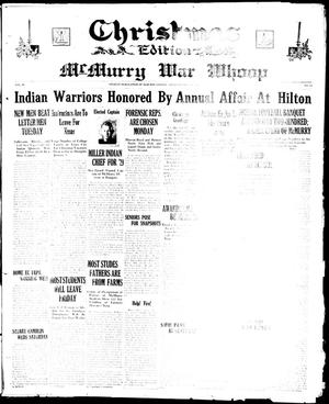 Primary view of object titled 'McMurry War Whoop (Abilene, Tex.), Vol. 6, No. 14, Ed. 1, Thursday, December 20, 1928'.