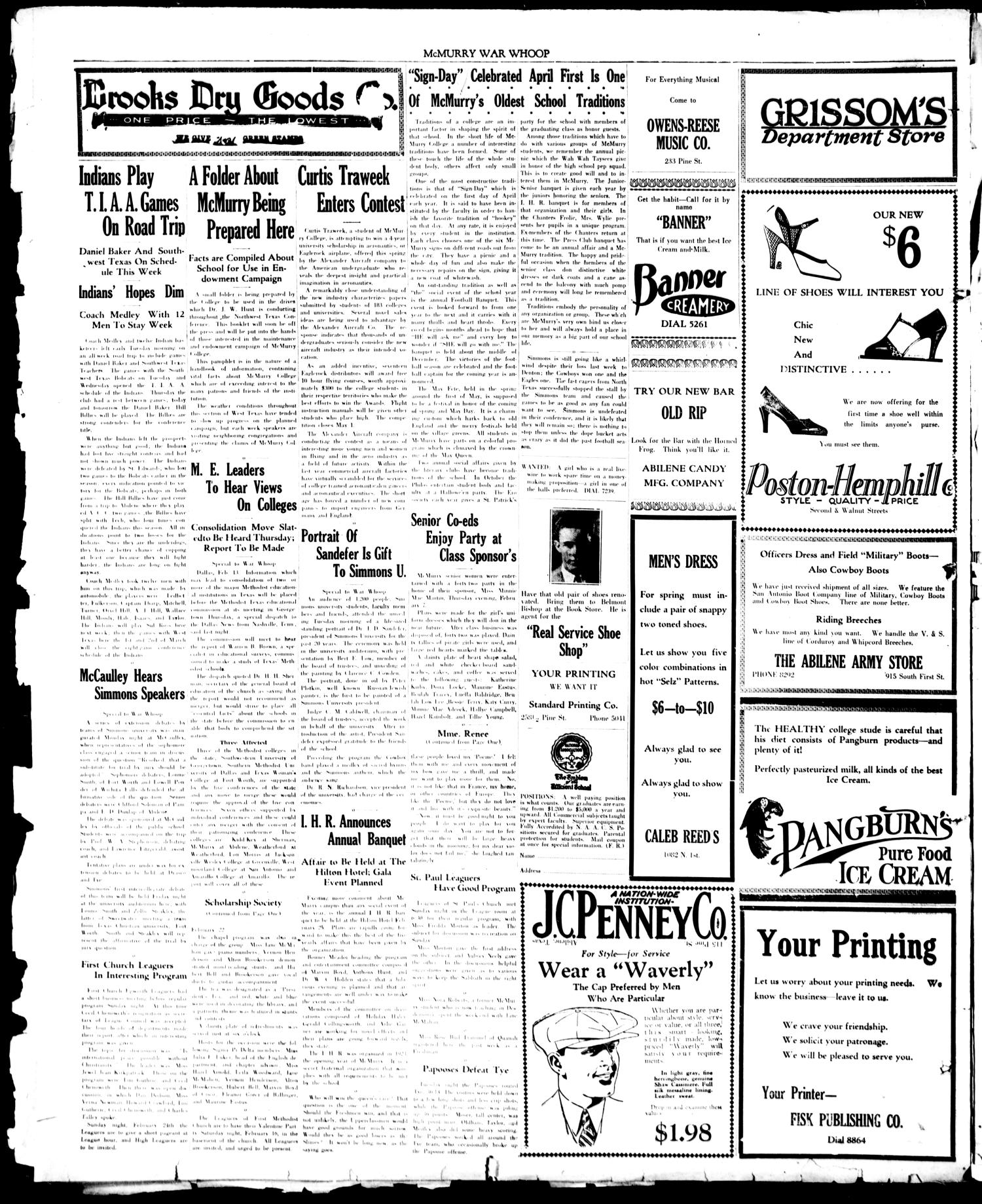 McMurry War Whoop (Abilene, Tex.), Vol. 6, No. 20, Ed. 1, Friday, February 15, 1929                                                                                                      [Sequence #]: 4 of 4
