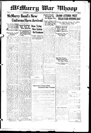 McMurry War Whoop (Abilene, Tex.), Vol. 7, No. 2, Ed. 1, Friday, September 27, 1929