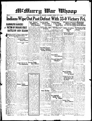 McMurry War Whoop (Abilene, Tex.), Vol. 7, No. 3, Ed. 1, Friday, October 4, 1929