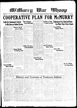 Primary view of object titled 'McMurry War Whoop (Abilene, Tex.), Vol. 8, No. 26, Ed. 1, Saturday, March 21, 1931'.