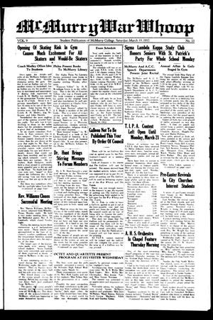 McMurry War Whoop (Abilene, Tex.), Vol. 9, No. 23, Ed. 1, Saturday, March 19, 1932
