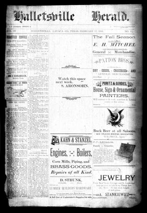 Primary view of object titled 'Halletsville Herald. (Hallettsville, Tex.), Vol. 23, No. 11, Ed. 1 Thursday, February 15, 1894'.