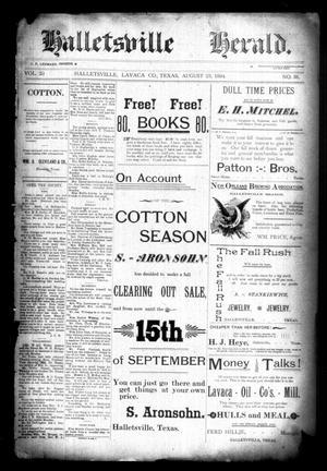 Primary view of Halletsville Herald. (Hallettsville, Tex.), Vol. 23, No. 38, Ed. 1 Thursday, August 23, 1894