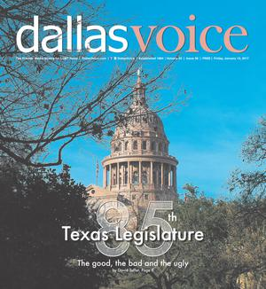 Primary view of object titled 'Dallas Voice (Dallas, Tex.), Vol. 33, No. 36, Ed. 1 Friday, January 13, 2017'.