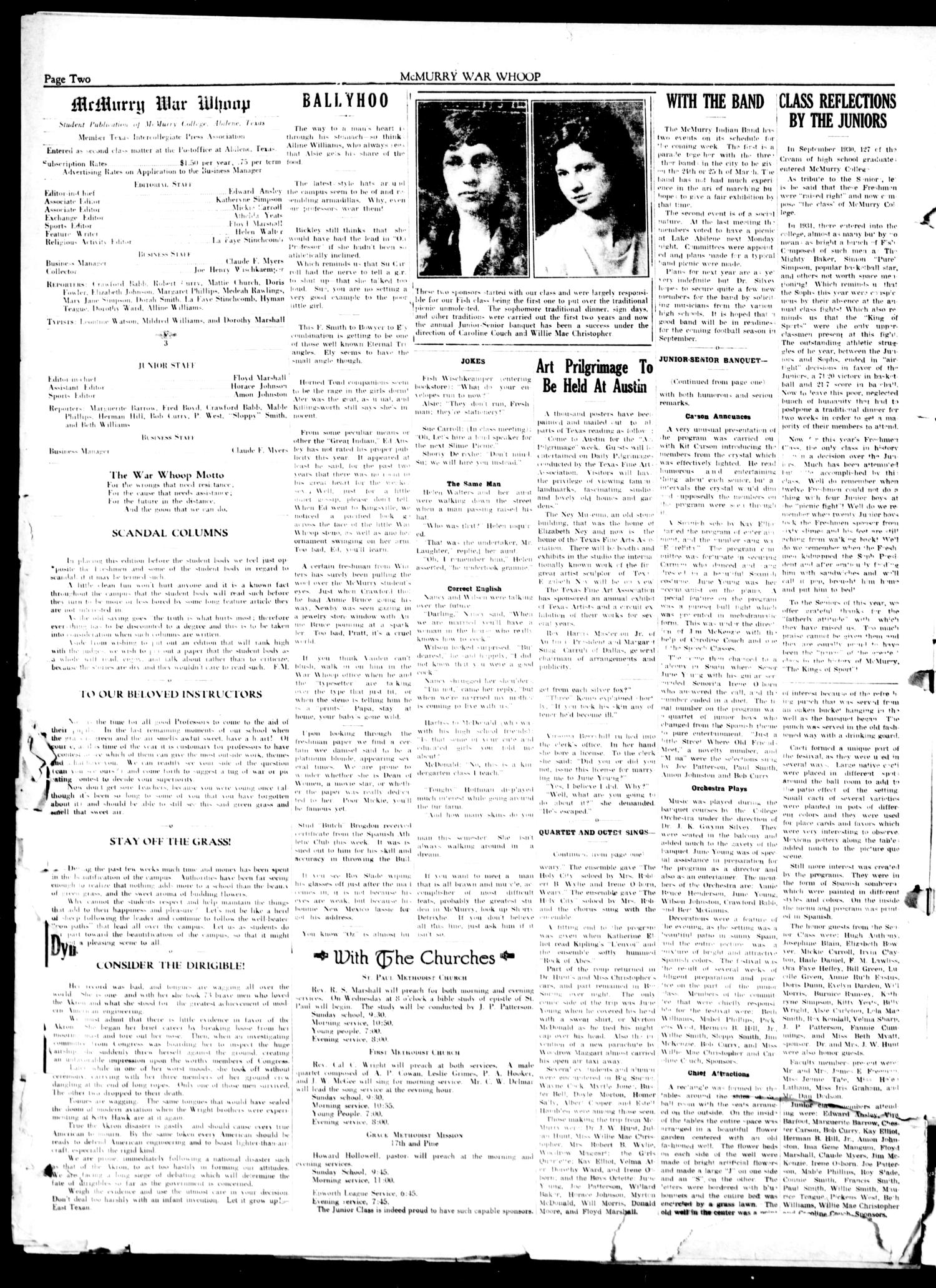 McMurry War Whoop (Abilene, Tex.), Vol. 10, No. 25, Ed. 1, Saturday, April 22, 1933                                                                                                      [Sequence #]: 2 of 4