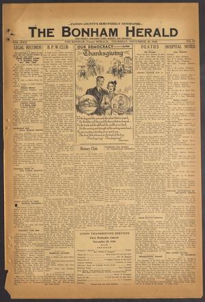 Primary view of The Bonham Herald (Bonham, Tex.), Vol. 22, No. 34, Ed. 1 Thursday, November 25, 1948