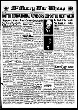 McMurry War Whoop (Abilene, Tex.), Vol. 22, No. 11, Ed. 1, Friday, March 16, 1945