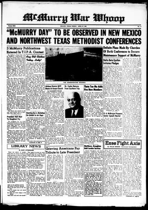 McMurry War Whoop (Abilene, Tex.), Vol. 22, No. 13, Ed. 1, Friday, April 27, 1945